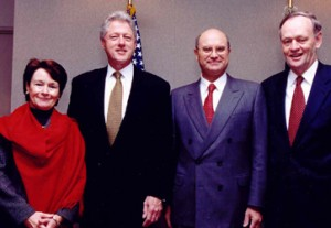 With wife Penny, President Clinton and Prime Minister Chrétien.]